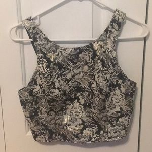 Abercrombie and Fitch brocade going out crop top